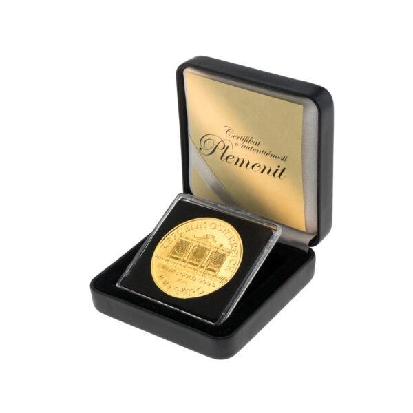Zlatnik Wiener Philharmoniker 1 unca u kutiji od umjetne kože, prednja strana