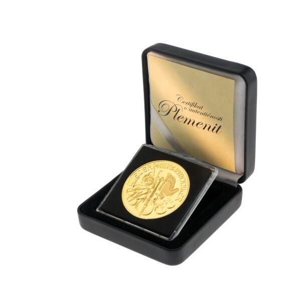 Zlatnik Wiener Philharmoniker 1 unca u kutiji od umjetne kože, stražnja strana