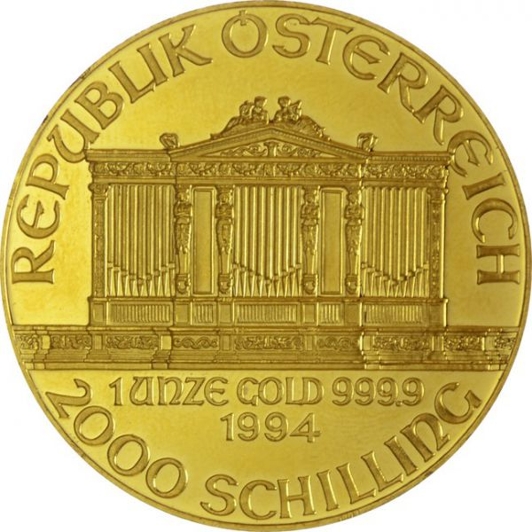 Zlatnik Wiener Philharmoniker 1 unca (31,103 grama) nominala 2000 schilling