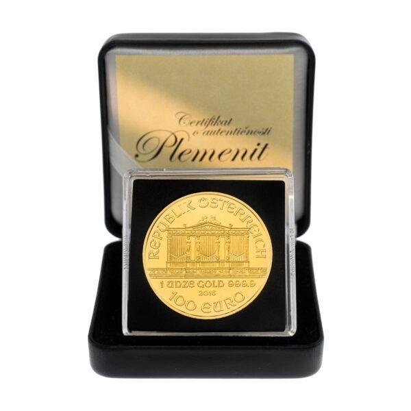 Zlatnik Wiener Philharmoniker 1 unca u poklon kutiji od umjetne kože, frontalno, prednja strana