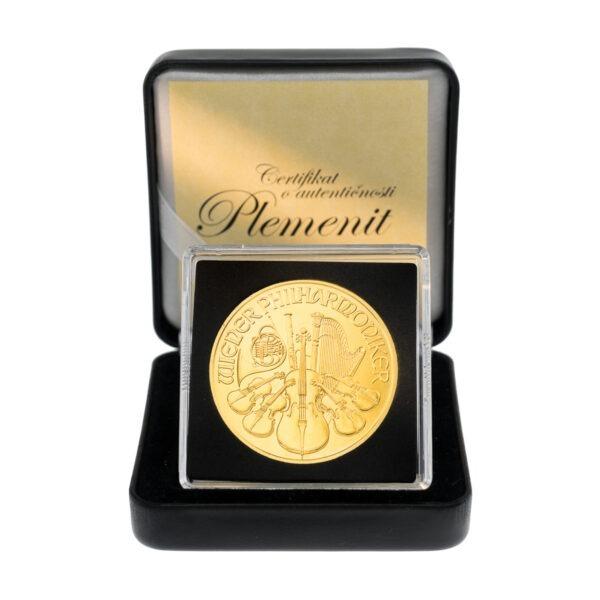 Zlatnik Wiener Philharmoniker 1 unca u poklon kutiji od umjetne kože, frontalno, stražnja strana