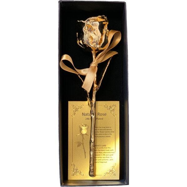 Ruža pozlaćena 24 karatnim zlatom u poklon kutiji