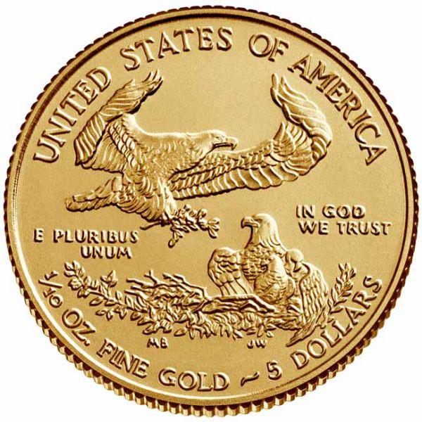 Zlatnik Američki orao (American Eagle) mase desetine (1/10) unce, prednja strana