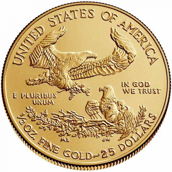 Zlatnik Američki orao (American Eagle) čista masa zlata pola (1/2) unce, prednja strana