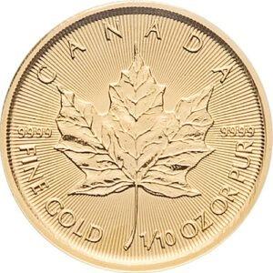 Zlatnik Javorov list (Maple Leaf) mase 1/10 unce, prednja strana