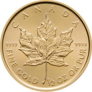 Zlatnik Javorov list (Maple Leaf) pola unce, prednja strana