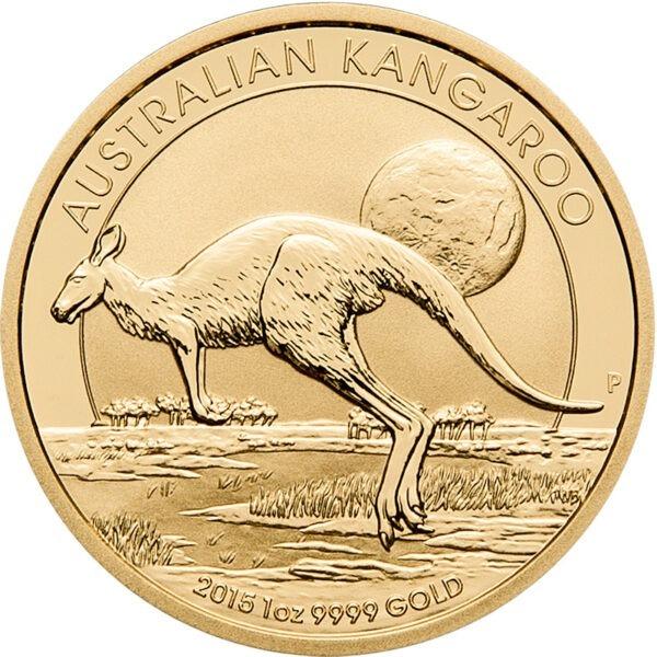 Zlatnik Klokan (Kangaroo) mase 1 unce, prednja strana