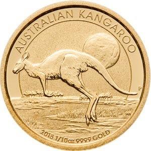 Zlatnik Klokan (Kangaroo) mase jedne desetine unce (3,11 grama), prednja strana