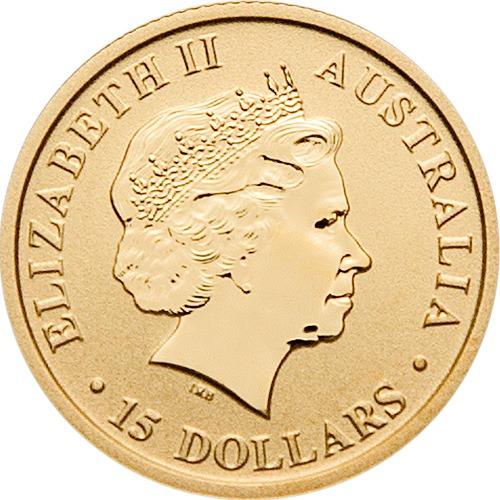 Zlatnik Klokan (Kangaroo) mase jedne desetine unce (3,11 grama), stražnja strana