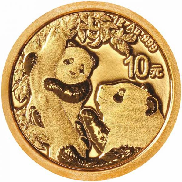 Zlatnik Kineski panda 1 grama, prednja strana