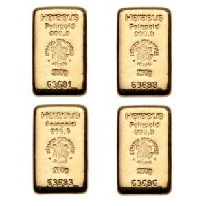 Zlatne poluge 250 grama četiri komada, različite